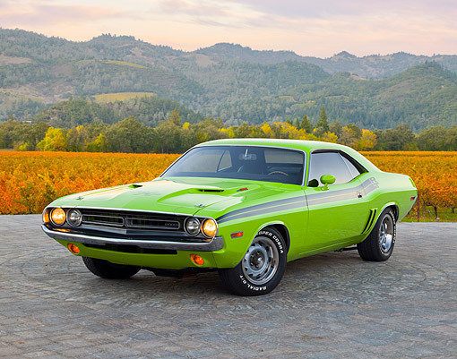 AUT 23 RK2050 01 © Kimball Stock 1971 Dodge Challenger R/T Sublime Green 3/4 Front View On Brick By Vineyard