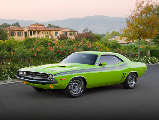 AUT 23 RK2051 01 © Kimball Stock 1971 Dodge Challenger R/T Sublime Green 3/4 Front View On Pavement By House And Trees