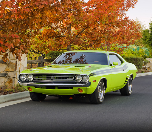 AUT 23 RK2052 01 © Kimball Stock 1971 Dodge Challenger R/T Sublime Green 3/4 Front View On Pavement By Autumn Trees