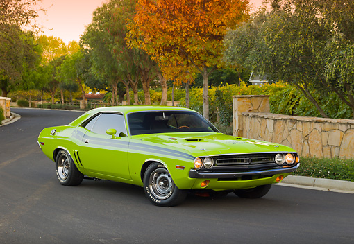 AUT 23 RK2053 01 © Kimball Stock 1971 Dodge Challenger R/T Sublime Green 3/4 Front View On Pavement By Autumn Trees