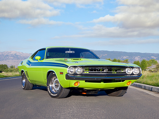 AUT 23 RK2054 01 © Kimball Stock 1971 Dodge Challenger R/T Sublime Green 3/4 Front View On Pavement By Trees