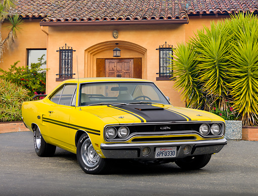 AUT 23 RK2060 01 © Kimball Stock 1970 Plymouth GTX Lemon Twist Yellow 3/4 Front View On Pavement By Swanky House