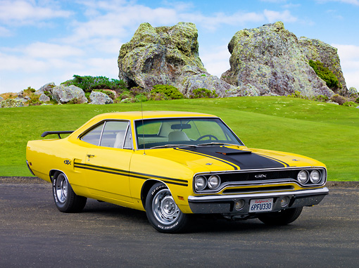 AUT 23 RK2063 01 © Kimball Stock 1970 Plymouth GTX Lemon Twist Yellow 3/4 Front View On Pavement