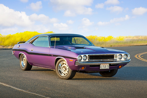 AUT 23 RK2094 01 © Kimball Stock 1970 Dodge Challenger RT 440 Purple 3/4 Front View On Road
