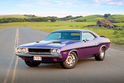 AUT 23 RK2102 01 © Kimball Stock 1970 Dodge Challenger RT 440 Purple 3/4 Front View On Road By Old Barn