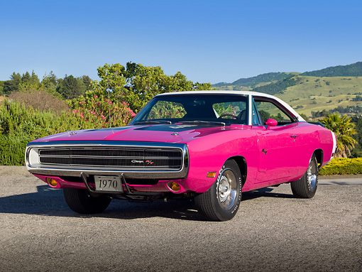 AUT 23 RK2118 01 © Kimball Stock 1970 Dodge Charger RT 440 Six Pac Panther Pink 3/4 Front View On Pavement By Hills