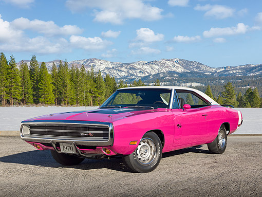 AUT 23 RK2121 01 © Kimball Stock 1970 Dodge Charger R/T 440 Six Pac Panther Pink 3/4 Front View On Gravel By Mountains