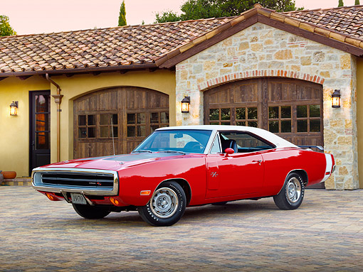 AUT 23 RK2125 01 © Kimball Stock 1970 Dodge Charger R/T 440 Six Pac Red 3/4 Front View On Brick By House
