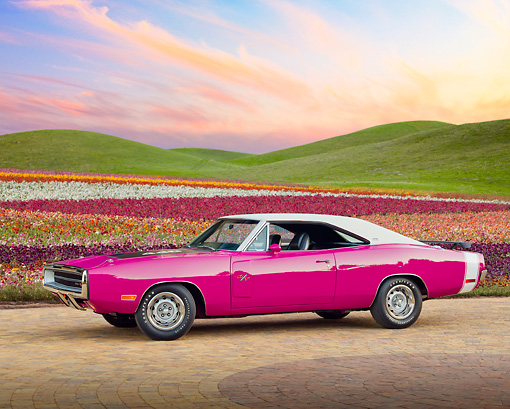 AUT 23 RK2126 01 © Kimball Stock 1970 Dodge Charger RT 440 Six Pac Panther Pink 3/4 Side View On Brick By House
