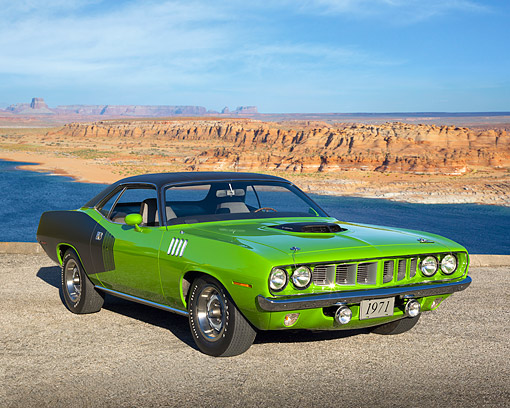 AUT 23 RK2127 01 © Kimball Stock 1971 Plymouth Hemi Cuda Sassy Grass Green 3/4 Front View On Pavement By Desert