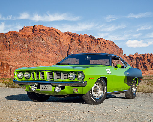 AUT 23 RK2131 01 © Kimball Stock 1971 Plymouth Hemi Cuda Sassy Grass Green 3/4 Front View On Pavement By Desert