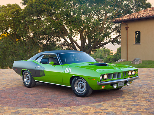 AUT 23 RK2132 01 © Kimball Stock 1971 Plymouth Hemi Cuda Sassy Grass Green 3/4 Front View On Brick By House