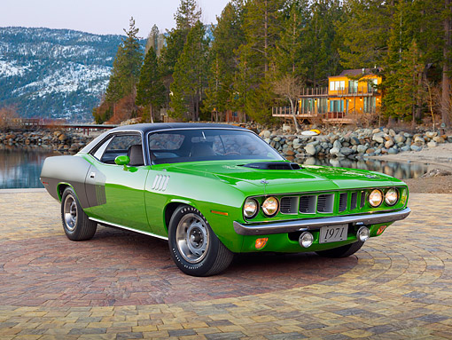 AUT 23 RK2133 01 © Kimball Stock 1971 Plymouth Hemi Cuda Sassy Grass Green 3/4 Front View On Brick By Trees