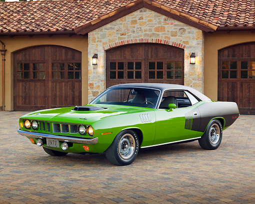 1971 Plymouth Hemi Cuda Sassy Grass Green 34 Front View On Brick By