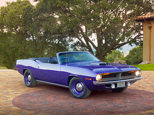 AUT 23 RK2140 01 © Kimball Stock 1970 Plymouth Hemi Cuda Convertible Inviolet 3/4 Front View On Brick By Trees
