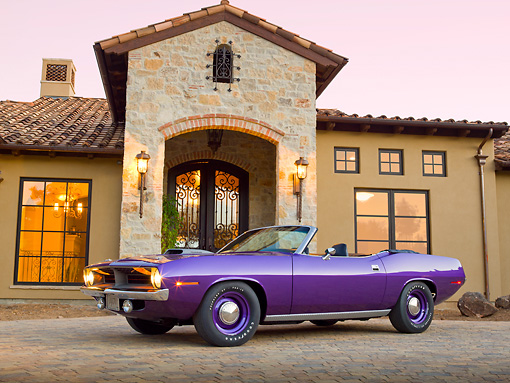 AUT 23 RK2142 01 © Kimball Stock 1970 Plymouth Hemi Cuda Convertible Inviolet 3/4 Side View On Brick By House