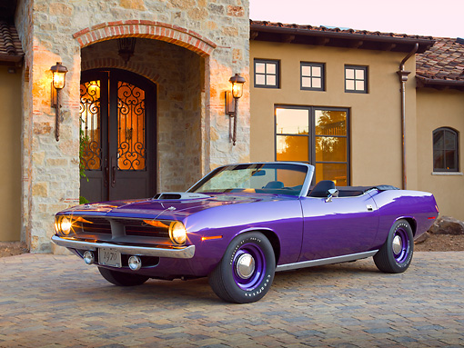 AUT 23 RK2143 01 © Kimball Stock 1970 Plymouth Hemi Cuda Convertible Inviolet 3/4 Front View On Brick By House