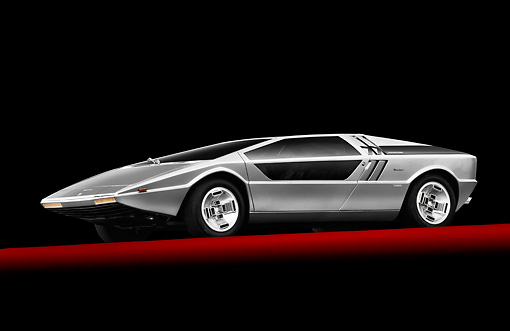 AUT 23 RK2170 01 © Kimball Stock 1972 Maserati Boomerang Silver 3/4 Side View In Studio