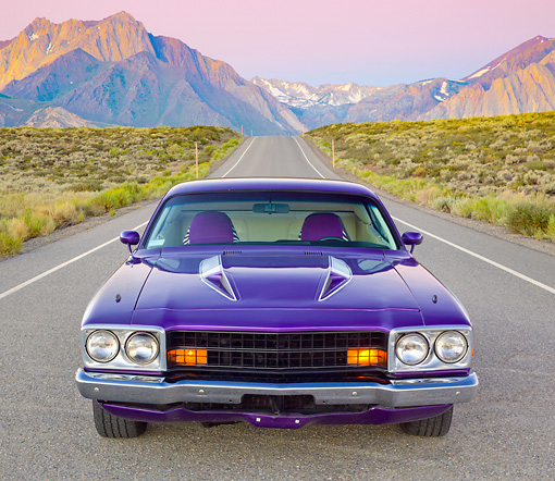 AUT 23 RK2179 01 © Kimball Stock 1973 Plymouth Road Runner Purple Front View On Road By Mountains