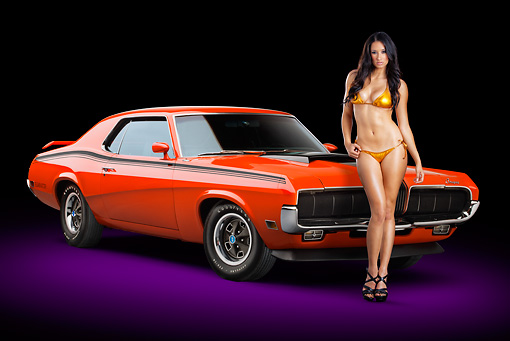 AUT 23 RK2187 01 © Kimball Stock 1970 Mercury Cougar Eliminator 428 Cobra Jet Orange 3/4 Front View In Studio With Swimsuit Model