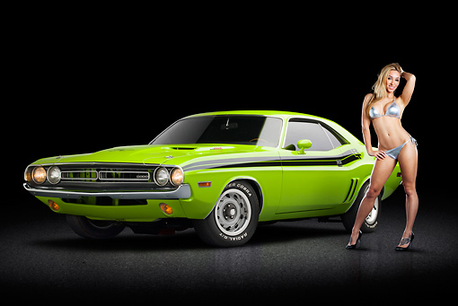 AUT 23 RK3370 01 © Kimball Stock 1971 Dodge Challenger RT Sublime 3/4 Front View On Pavement With Swimsuit Model