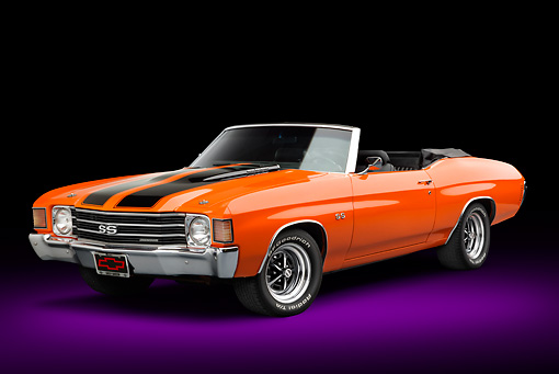 AUT 23 RK3377 01 © Kimball Stock 1972 Chevrolet Chevelle SS Convertible Chrome Orange With Jet Black Stripes 3/4 Front View In Studio