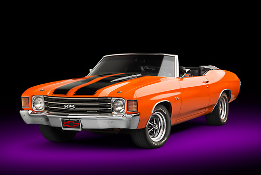 AUT 23 RK3378 01 © Kimball Stock 1972 Chevrolet Chevelle SS Convertible Chrome Orange With Jet Black Stripes 3/4 Front View In Studio