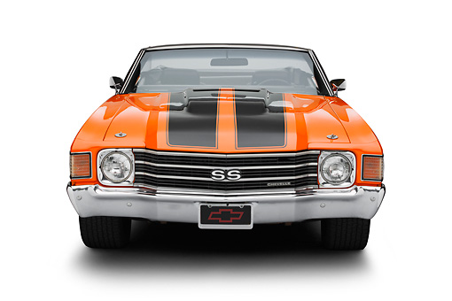AUT 23 RK3380 01 © Kimball Stock 1972 Chevrolet Chevelle SS Convertible Chrome Orange With Jet Black Stripes Front View On White Seamless