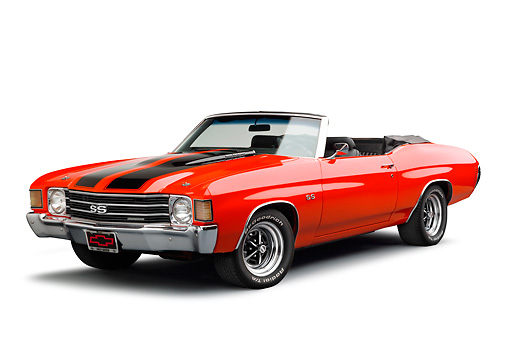 AUT 23 RK3381 01 © Kimball Stock 1972 Chevrolet Chevelle SS Convertible Red With Jet Black Stripes Front View On White Seamless