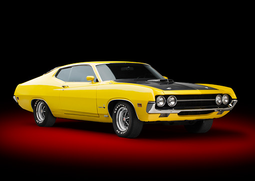 AUT 23 RK3382 01 © Kimball Stock 1970 Ford Torino 429 Super Cobra Jet Yellow 3/4 Front View In Studio