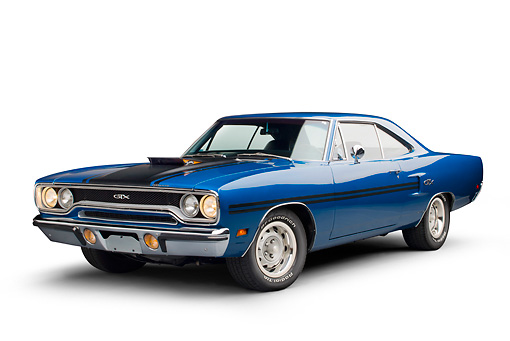 AUT 23 RK3385 01 © Kimball Stock 1970 Plymouth GTX Blue 3/4 Front View On White Seamless