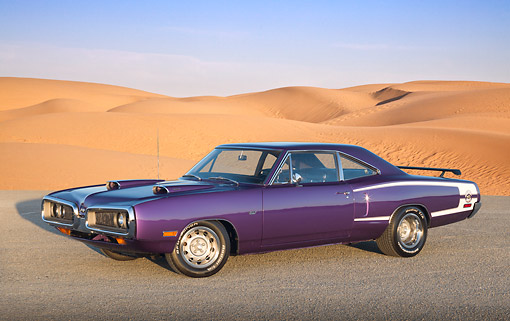 AUT 23 RK3388 01 © Kimball Stock 1970 Dodge Super Bee Purple 3/4 Side View On Gravel By Sand Dunes