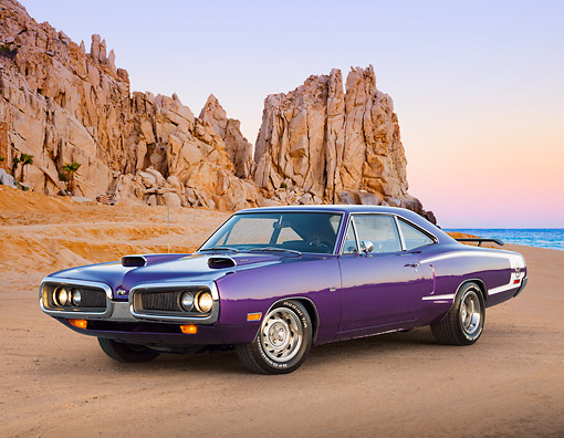 AUT 23 RK3390 01 © Kimball Stock 1970 Dodge Super Bee Purple 3/4 Front View On Sand By Water