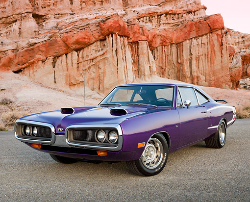 AUT 23 RK3391 01 © Kimball Stock 1970 Dodge Super Bee Purple 3/4 Front View On Gravel By Cliffs