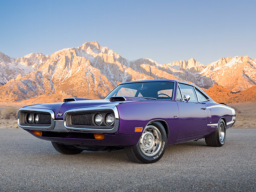 AUT 23 RK3392 01 © Kimball Stock 1970 Dodge Super Bee Purple 3/4 Front View On Pavement By Mountains