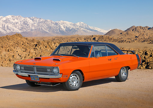 AUT 23 RK3418 01 © Kimball Stock 1970 Dodge Dart Swinger 340 Orange And Black 3/4 Front View On Dirt By Mountains