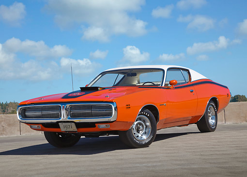 AUT 23 RK3424 01 © Kimball Stock 1971 Dodge Hemi Charger Orange With White Top 3/4 Front View On Pavement