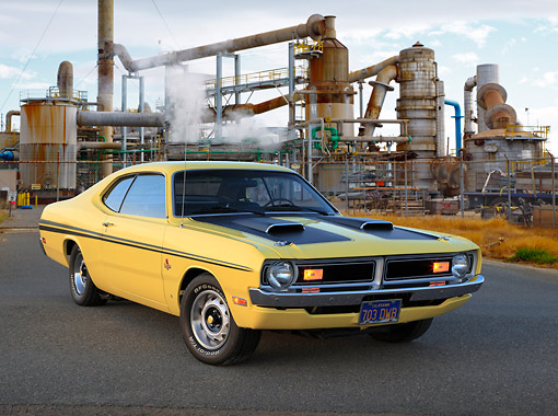 AUT 23 RK3428 01 © Kimball Stock 1971 Dodge Demon Yellow With Black Stripes 3/4 Front View On Pavement By Old Factory