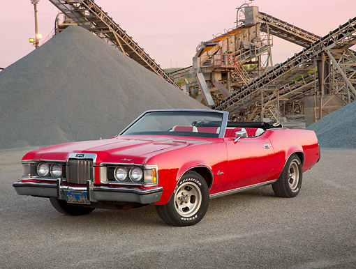 AUT 23 RK3432 01 © Kimball Stock 1973 Mercury Cougar Convertible Red 3/4 Front View On Gravel By Quarry At Dusk