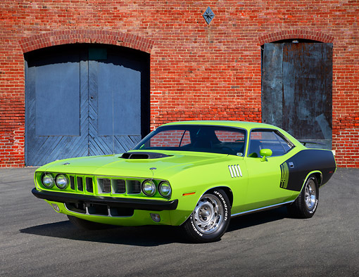 AUT 23 RK3447 01 © Kimball Stock 1971 Plymouth Barracuda 440 Lime Green 3/4 Front View On Pavement By Brick Building