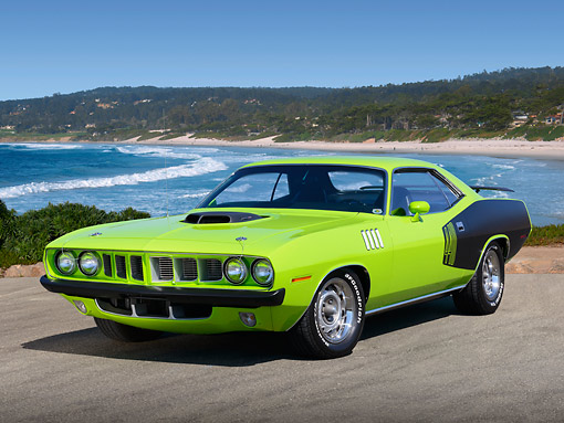 AUT 23 RK3448 01 © Kimball Stock 1971 Plymouth Barracuda 440 Lime Green 3/4 Front View On Pavement By Beach