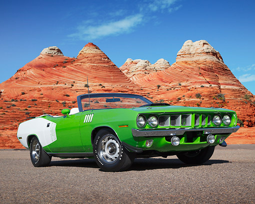 AUT 23 RK3449 01 © Kimball Stock 1971 Plymouth Cuda 340 Convertible Green And White 3/4 Front View On Pavement In Desert