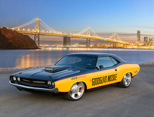 AUT 23 RK3474 01 © Kimball Stock 1971 Dodge Challenger Black And Yellow 3/4 Front View On Pavement By Bay Bridge At Night