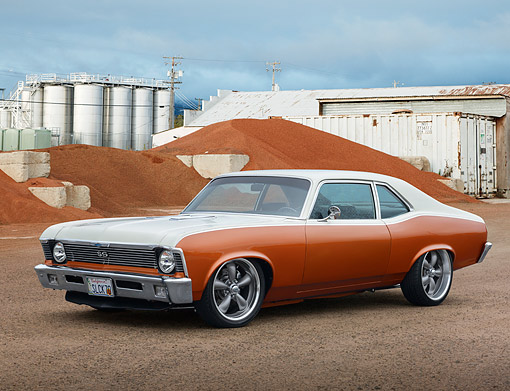 AUT 23 RK3493 01 © Kimball Stock 1970 Chevrolet Nova Orange And Cream 3/4 Front View On Gravel By Dirt Piles