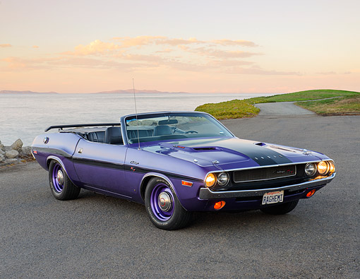 AUT 23 RK3500 01 © Kimball Stock 1970 Dodge Hemi Challenger Convertible Plum Crazy Purple 3/4 Front View On Pavement By Water