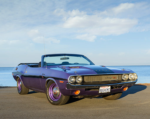 AUT 23 RK3501 01 © Kimball Stock 1970 Dodge Hemi Challenger Convertible Plum Crazy Purple 3/4 Front View On Pavement By Water