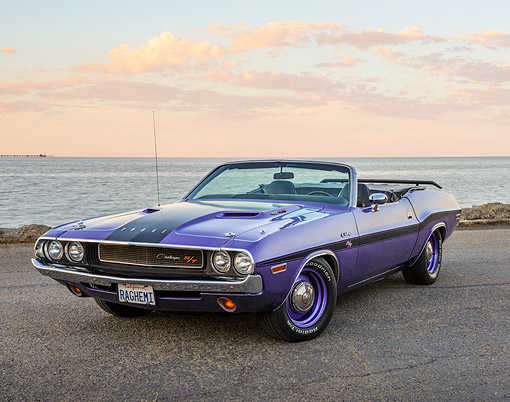 AUT 23 RK3502 01 © Kimball Stock 1970 Dodge Hemi Challenger Convertible Plum Crazy Purple 3/4 Front View On Pavement By Water