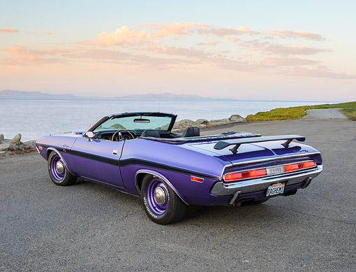 AUT 23 RK3503 01 © Kimball Stock 1970 Dodge Hemi Challenger Convertible Plum Crazy Purple 3/4 Rear View On Pavement By Water