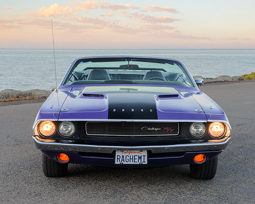 AUT 23 RK3504 01 © Kimball Stock 1970 Dodge Hemi Challenger Convertible Plum Crazy Purple Front View On Pavement By Water