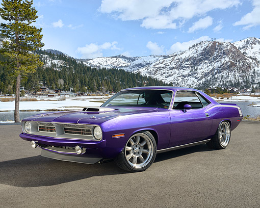AUT 23 RK3519 01 © Kimball Stock 1970 Plymouth Hemi Cuda Purple 3/4 Front View On Pavement By Snow Covered Hills
